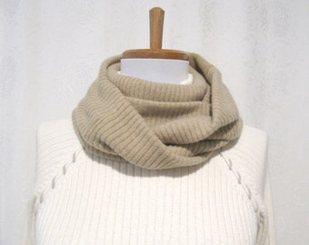 Tan Cashmere Infinity Scarf / Winter Scarf / Tan Infinity Scarf / Tan Cashmere Scarf / Neck Warmer Felted Cashmere Sweaters (No824)