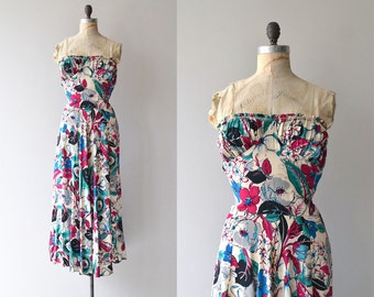 Jardin Accrochant silk dress | vintage 1930s dress | floral silk 30s dress