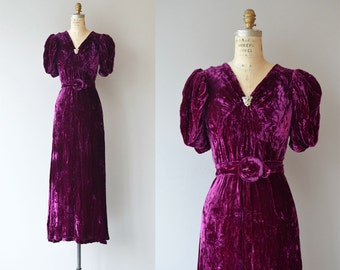 Intermezzo silk velvet dress | vintage 1930s dress | silk velvet 30s dress