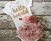 PRE ORDER (SEPTEMBER) Baby Girl Take Home Outfit Newborn Baby Girl Hello World Bodysuit Bloomers Headband Set Dusty Rose Pink