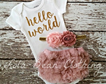 PRE ORDER (OCTOBER) Baby Girl Take Home Outfit Newborn Baby Girl Hello World Bodysuit Bloomers Headband Set Dusty Rose Pink