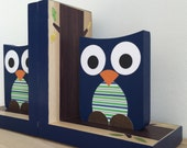 Navy Blue Owl Bookends, Navy Blue and Green Owl Nursery Decor, Owl Kids Decor, Natural Wood, Wood Bookends, Children's Bookends