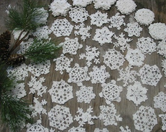 "60 Hand Crochet White Christmas Snowflakes Motifs Doilies Ornaments 3"" Cotton,Tea Party, Vintage Wedding,free US shipping"
