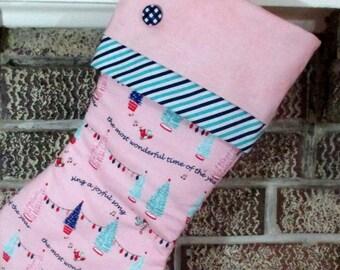 Pink Christmas Stocking , Personalized Stocking