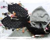 Amazing Hand-crochet black wool scarf with rainbow flowers