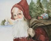 Reserved listing Santa Christmas CARDS Santa card watercolor Santa painting vintage inspired Santa Claus 100 RESERVED for WENDY
