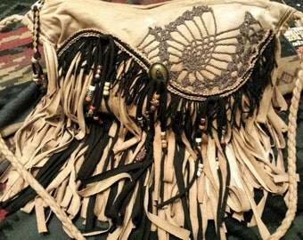 Buckskin and Black Fringe Cross Body Bag