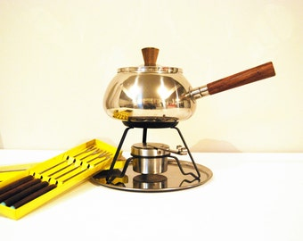 Vintage Complete Fondue Set Stainless Steel & Wood