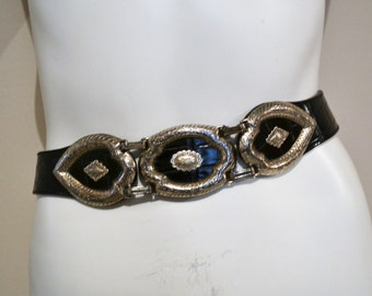 Vintage Belt Black and Silver Brighton