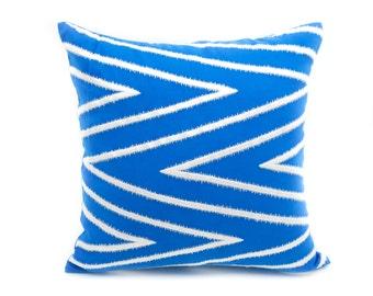Chevron Throw Pillow Cover, Gray silver chevron embroidery on blue linen pillow, Modern contemporary home decor, embroidered pillow case