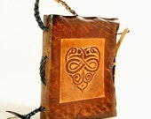 Brown Heart Leather Journal, pocket size.