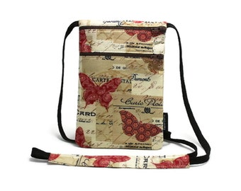 Small Travel Pouch, Security Neck Wallet, Passport Holder, Sling bag, Travel accessory, Zipper pouch, Bohemian Butterfly