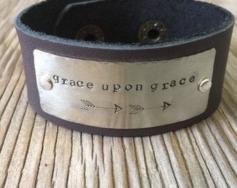 Custom stamped leather cuff bracelet hand stamped jewelry metalwork bible verse quote unisex cuff gift  girlfriend personalized jewelry