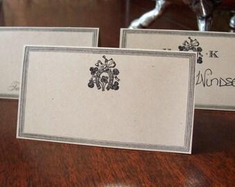 Horseshoe Equestrian Personalized Wedding Place Cards ,Escort Cards, 60 Blank Kraft Horse Shoe with or without Monogram , Shamrock