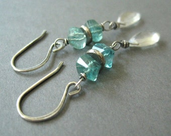 Aqua Apatite, Rock Crystal Earrings, Sterling Silver Gemstone Dangle Earrings, Free Shipping