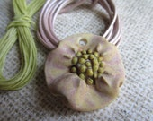 Golden Pink blossom Mix, Handcrafted Beads, Daisy Pendant, Ceramic Beads, Pendant, Pendants, Art Bead, Classic Bead, tracee, stoneware