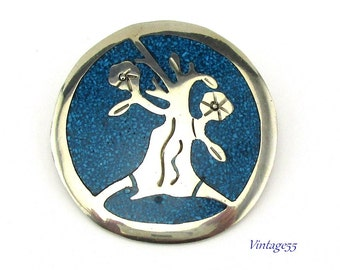 Brooch Turquoise Tree of Life Alpaca Mexico