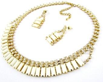 Necklace Set White Baguette Rhinestone Pierced Post