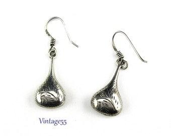 Earrings Sterling Bohemian Etched pierced wire