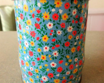 Vintage Tin, Floral Tin, Mod Flowers, Metal Lidded Tin, English Tin, Orange Blue Yellow Flowers, Storage Tin Canister, Small Groovy Flowers