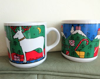 Vintage Mugs, Christmas Mugs, Allen Wood Mug, Happy Holidays Mug, Vintage Holiday, Houze Mug, Ceramic Cups, Reindeer Mug, Cute Kawaii Zakka