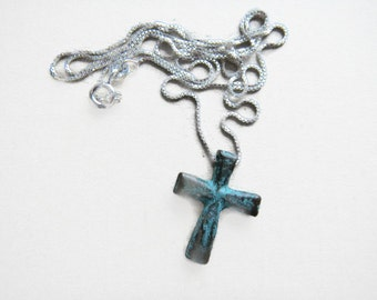 Rustic  Mykonos Solid Cross Pendant/Necklace, Cross Necklace, Christian Jewelry,