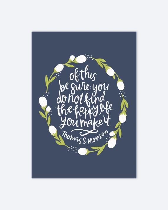 Happy Floral Print   LDS Quote Happy Life AZ108