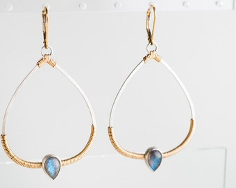 Lyra: Labradorite Teardrops on Two-Tone Silver and Gold Dangle Hoops Earrings, Blue, Sophisticated, Large, Modern, Exotic - Made to Order