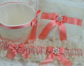 Wedding Ring Pillow/ Bridal Garter Set/ Flower Girl basket /Coral Garter Flower Girl Basket & Ring Pillow/ Ivory Bridal Set