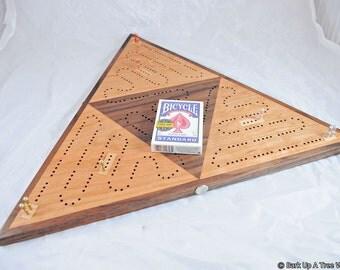 Triangle 3 Player Race Cribbage Board -  Black Cherry & Black Walnut