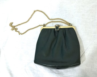 Vintage Dark Green Shoulder Purse. Chain Strap. Gold. Hunter Green. Small Purse. Evening Purse. Handbag. Under 20. 1980s. Leather or Faux.
