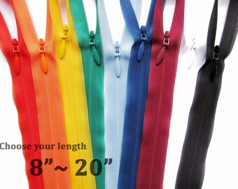 """YKK Invisible Zippers 8"""" 10"""" 12"""" 14"""" 16"""" 18"""" 20"""" Choose your colors Zippers / YKK 2cc Zippers for 12 / Mix & Match"""
