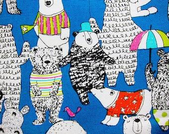 Animal Print Fabric - Bear Party - Cotton Fabric By The Yard - Half Yard