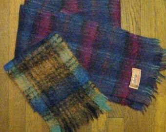 Two Vintage John Hanly Mohair and Wool Plaid Scarves - Made in Ireland