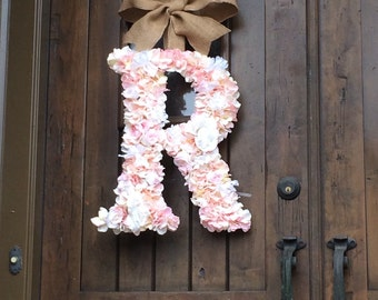 24 Inch Hydrangea multi color Floral Wedding Wreath Initial