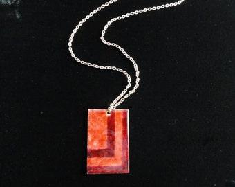 Vintage Mid-Century Enameled Copper Pendant, Red Enamel Geometric Rectangle Pendant Chain Necklace- Handmade Vintage Mod Jewelry 1950s 1960s
