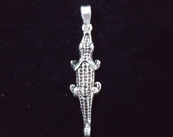 Alligator Sterling Silver Charm, Alligator Pendant, Alligator Charm, Florida Gators Charm, Articulated Charm, Moveable Charm, Large Size