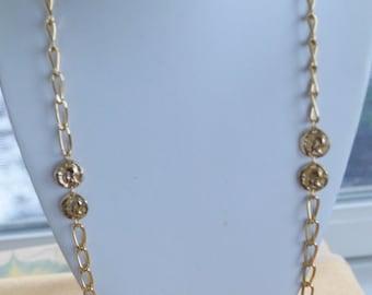 "Pretty Vintage Gold tone Roman Trojan Coin Chain Necklace, 31"" (AR13)"