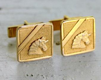 Unicorn Cuff Links Gold Tone Vintage 1960s