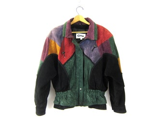 vintage black suede leather colorblock jacket leather coat 1980s women's suede coat Green Purple Red Black Cinched Waist Hipster size Large