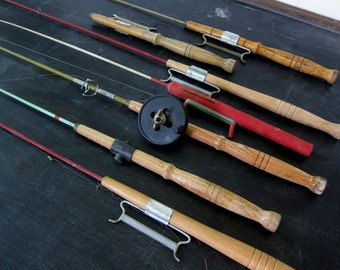 7 Vintage Wooden Ice Fishing Poles for winter Fish Nautical Decor Man Cave Cabin Wood Poles Rods Home Decor
