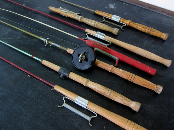 7 vintage wooden ice fishing poles for by dirtybirdiesvintage for Vintage fishing poles