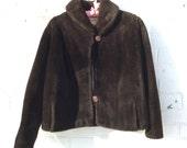 1960s Vintage Faux Fur Brown Mouton Swing Jacket Coat