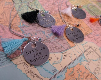 Live in the Moment - Metal Hand Stamped Necklace