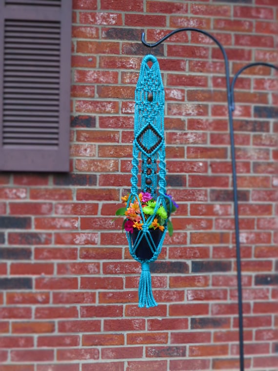 macrame plant hanger for sale small macrame plant hanger for sale turquoise by mainlymacrame 9695