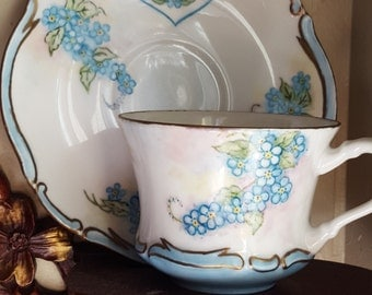 Central Arizona Tea Cup and Saucer Blue Forget Me Not Bridal Gift BridesMaids just add your own Tea Bags for the Special Day