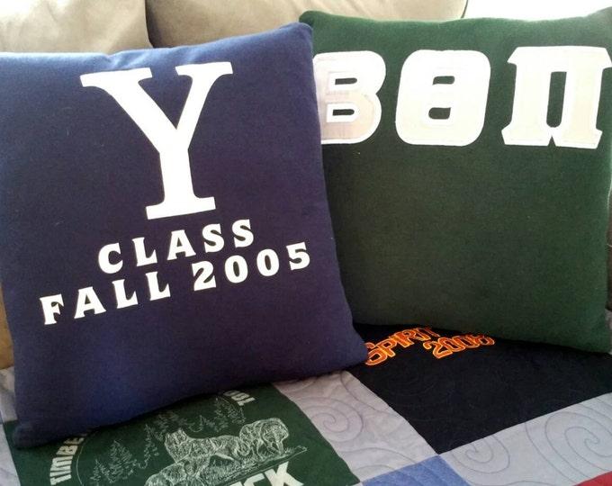 College Sweater Pillows custom made tshirt pillow