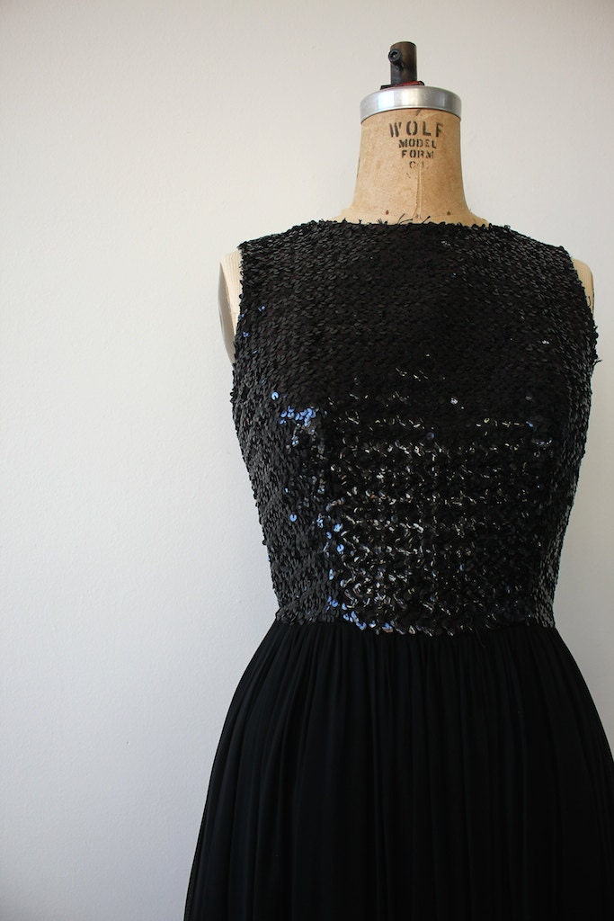 Vintage Black Chiffon Sequined Cocktail Dress