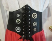 Black Waist Cincher S-M-L-XL plus size under the bust Steampunk gears silver Pirate Costume Belt Embellished