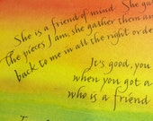 She is a friend of mind - Toni Morrison quote - calligraphy on color background